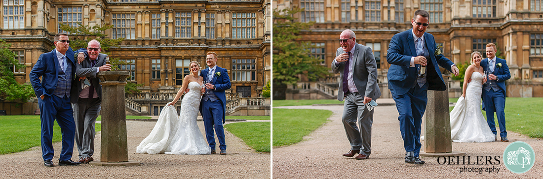 two photographs of guests winding up the bride and groom