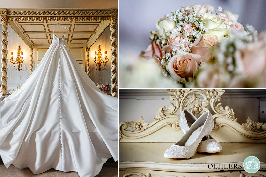 norwood park wedding photography - wedding dress hanging up and flowers and shoes displayed