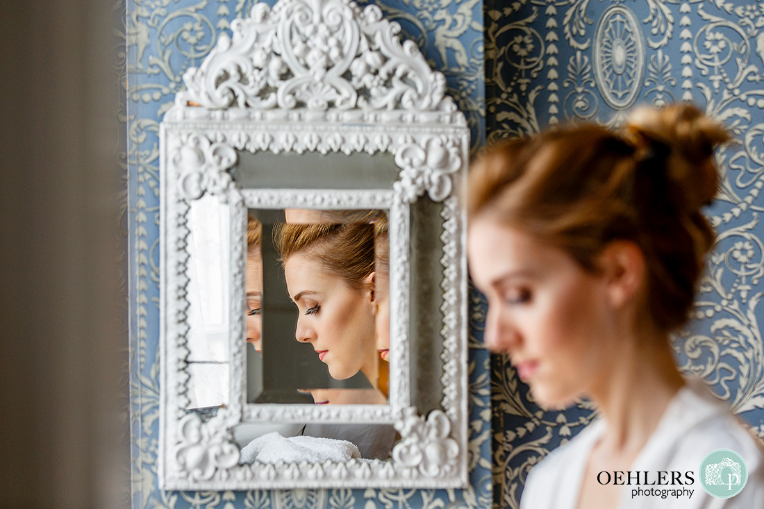 norwood park wedding photography - bride's side refection in an ornate mirror