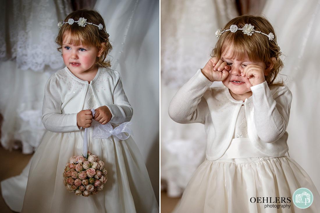 norwood park wedding preparations - flowergirl all dressed up