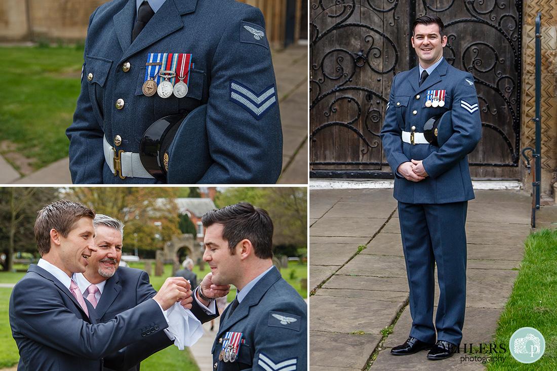 southwell minster wedding - groom in his RAF uniform