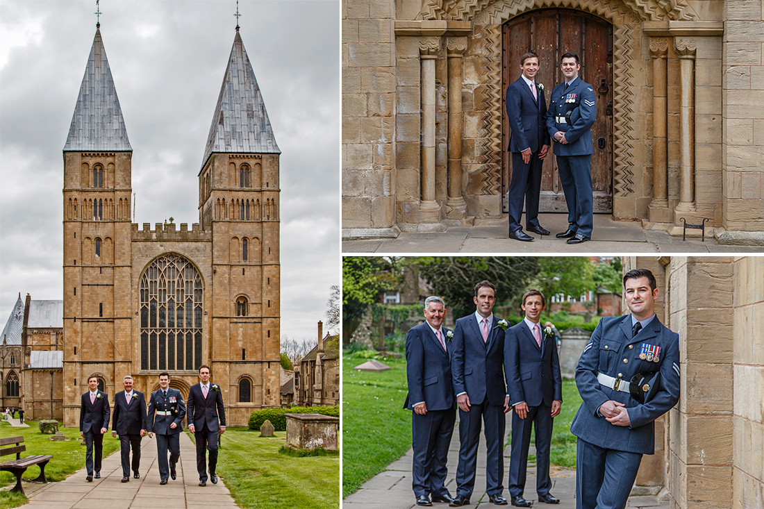 southwell minster wedding - photographs of groomsmen posing outside the cathedral
