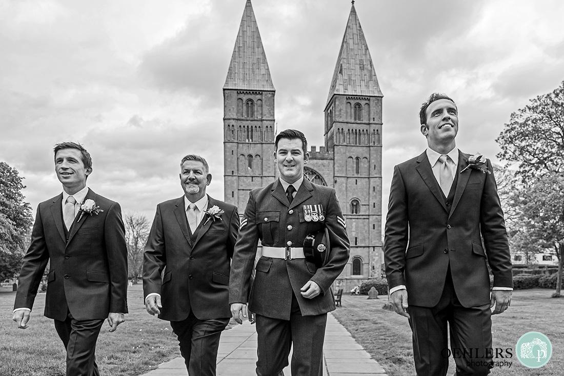 southwell minster wedding - black and white photograph of groomsmen