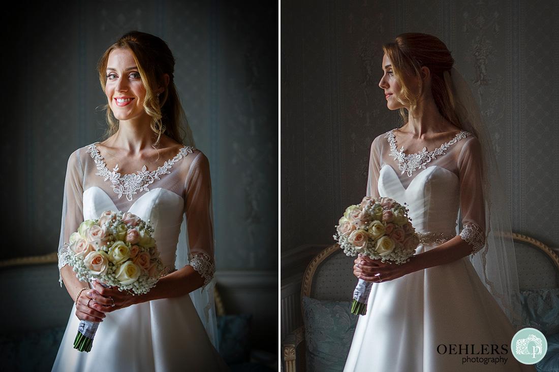 Norwood Park Wedding - beautiful half portrait of the bride using window light