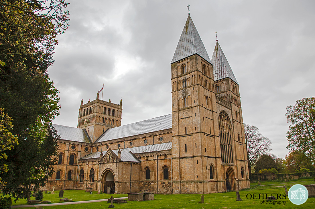 Southwell Minster wedding ceremony - beautiful side profile of Southwell Minster