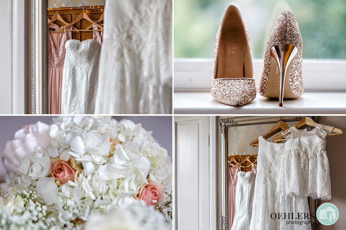 Deatils of the dresses, shoes and flowers