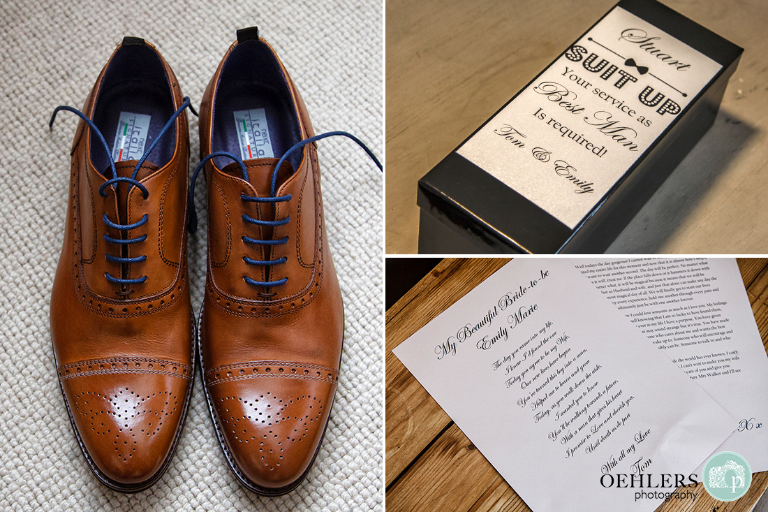 Details of Groom's shoes and other accessories.