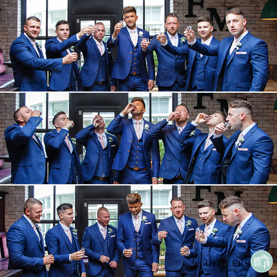 Osmaston Park wedding photography - One for the road. Down in one. Classic expressions on groomsmen faces.