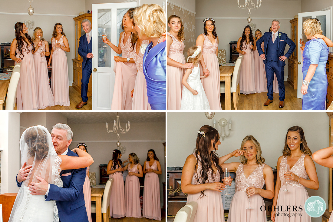 Osmaston Park wedding photography - Four images of dad's reaction to seeing the bride for the first time in her dress.