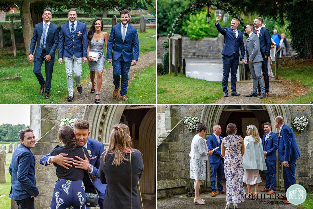 Osmaston Park wedding photography - St Martin's Church, Osmaston - images of guests arriving at the church.