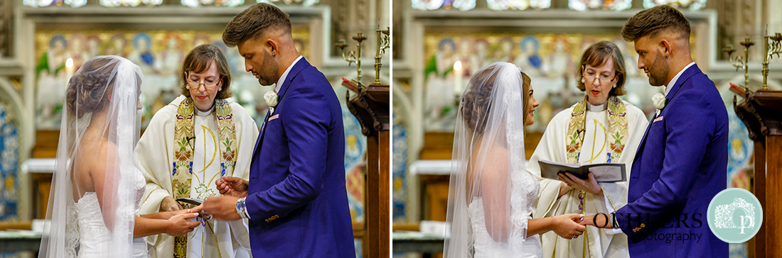 Osmaston Park wedding photography - the exchanging of the rings