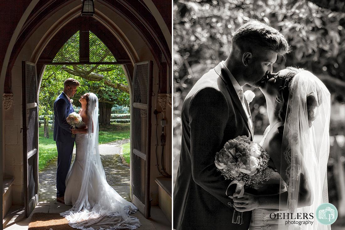 Osmaston Park wedding photography - a romantic kiss in the doorway of the church