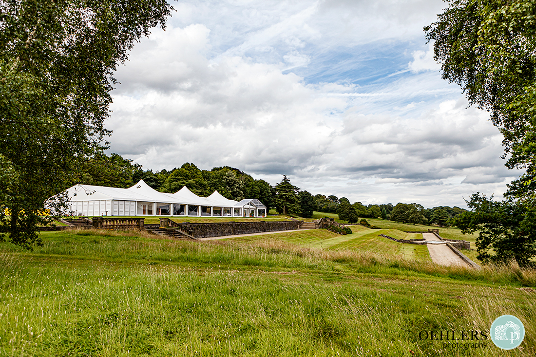 Osmaston Park wedding photography -the grand marquee on the top terrace