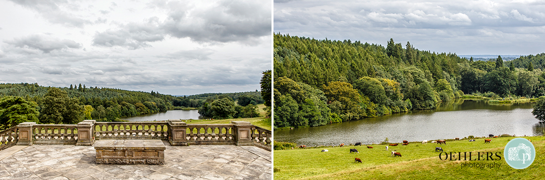 Osmaston Park wedding photography - views over the balustrades to the lake and woodland below.