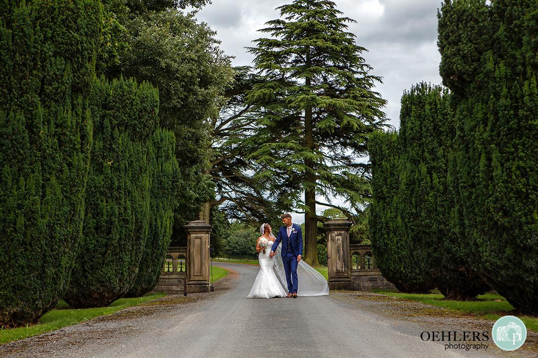 Osmaston Park wedding photography - couple walking through the entrance between rows of conifers