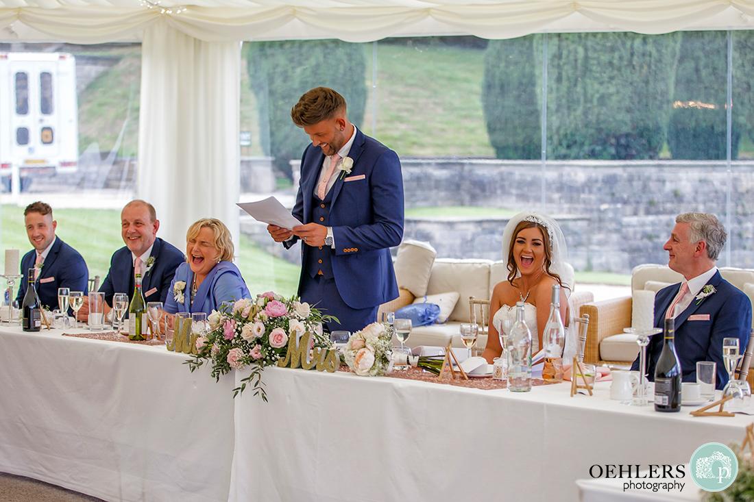 Osmaston Park wedding photography - the groom's speech