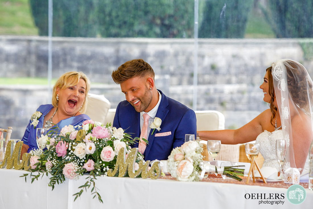 Osmaston Park wedding photography - laughter at the top table