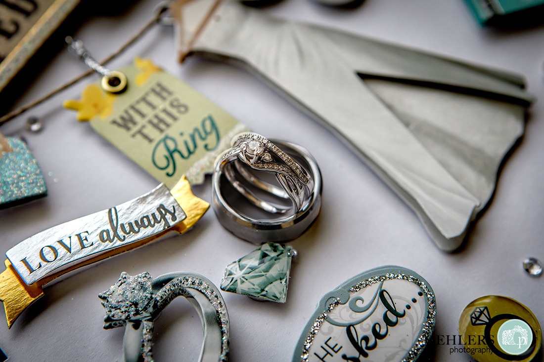Wedding rings placed on a scrapbooking album